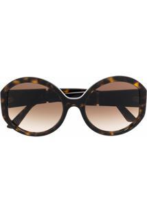 Prada Eyewear Oversized Logo Sunglasses - Marrom