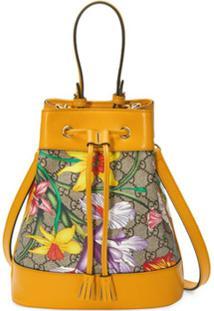Gucci Bolsa Bucket Ophidia Gg Flora Pequena - Amarelo