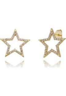Brinco Piuka Artemis Estrela Zincônias Folheada A Ouro 18K - Feminino-Dourado