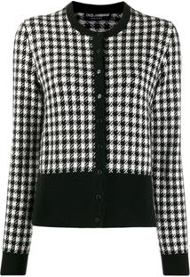 Dolce & Gabbana Button Up Houndstooth Cardigan - Preto