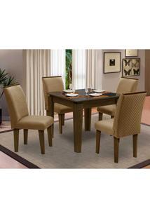 Sala De Jantar Saint Michel Com 4 Cadeiras – Dobuê Movelaria - Castanho / Preto / Kaki