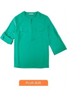 Camisa Verde Em Crepe Com Zíper