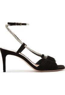 Sandália Mid Heel Glam Nobuck Black | Schutz