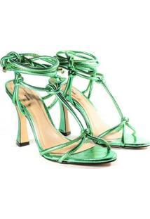 Sandália Deodora Store Amarração Metalizada Feminina - Feminino-Verde