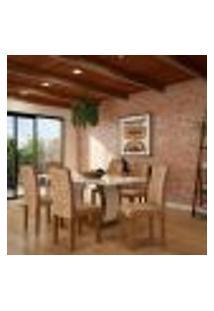 Conjunto De Mesa De Jantar Com 6 Cadeiras Estofadas Jéssica Animalle Off White E Chocolate