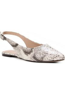 Sapatilha Couro Shoestock Slingback Cobra Feminina - Feminino