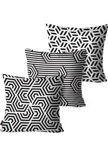 Kit Com 3 Capas Para Almofadas Decorativas Branco Abstratos 45X45Cm Pump Up - Branco - Dafiti