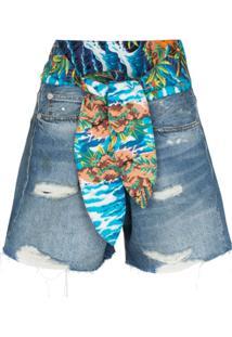 R13 Bermuda Jeans Jasper - Azul