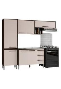 Cozinha Compacta Com Balcáo Para Pia Venice 7 Portas Ébano/Titânio - Kit'S Paraná