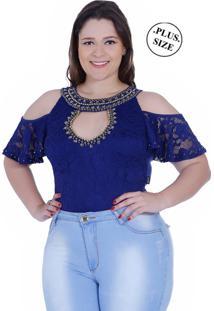 Body Plus Size Zigma Ombro Nu Azul