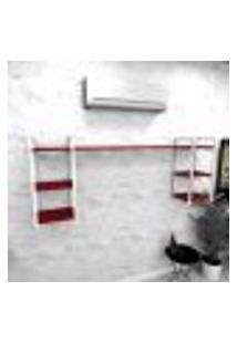 Estante Industrial Escritório Aço Cor Branco 180X30X68Cm Cxlxa Cor Mdf Vermelho Modelo Ind28Vres