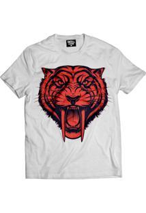 Camiseta Manga Curta Skull Clothing Tigre Branco