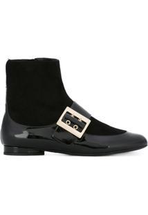 Lanvin Ankle Boot De Couro - Preto