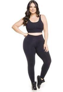 Calça Legging Trinys Básica Suplex Power Plus Size Feminina - Feminino-Preto