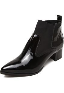 Ankle Boot Couro Ellus Bico Fino Preta
