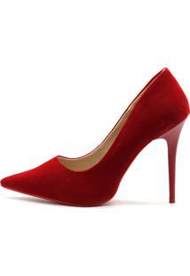 Scarpin Royalz Nobuck Sola Vermelha Salto Fino Penélope Vermelho