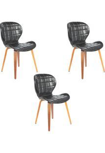 Kit 3 Cadeiras Decorativas De Escritã³Rio Recepã§Ã£O Granclass (Pu) Preto - Gran Belo - Preto - Dafiti