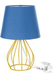 Abajur Cebola Dome Azul Com Aramado Amarelo - Azul - Dafiti