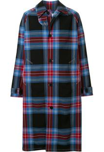Charles Jeffrey Loverboy Trench Coat Doctors Azul Com Estampa Xadrez Tartan