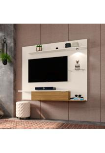 Painel Para Tv 55 Polegadas Ubatuba Off White E Cinamomo