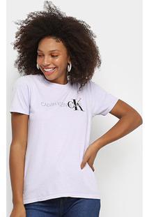 Blusa Calvin Klein Slim Logo Feminina - Feminino-Lilás