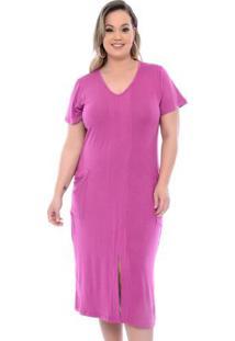 Vestido Fenda Na Frente Roxo Plus Size