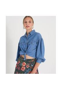 Camisa Jeans Manga Longa Bufante Lisa | Blue Steel | Azul | G
