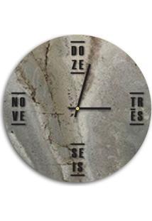 Relógio De Parede Decorativo Premium Magma Petra Com Palavras Em Relevo Preto Ônix Médio