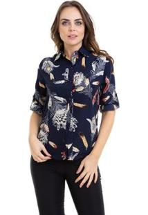Camisa Kinara Crepe Manga Martingale Feminina - Feminino