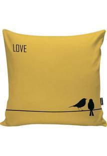 Capa De Almofada Love- Amarela & Preta- 45X45Cm-Stm Home