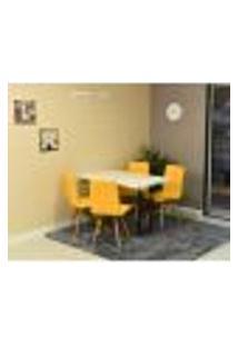 Conjunto De Mesa Dobrável Retrátil 120 X 75 Branca + 4 Cadeiras Gomos - Amarela