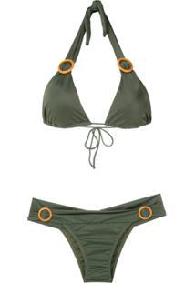 Brigitte Biquíni Com Argolas Aplicadas - Verde