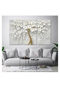 Quadro Luxo 65X105Cm Canvas Flores Cerejeiras Branca Efeito Gold Decorativo