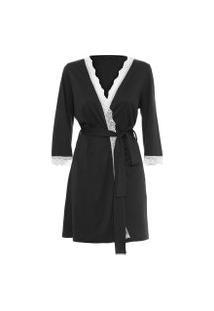 Robe Feminino Com Renda De Algodão Pima - Preto