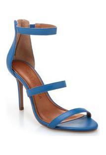 Sandalia Salto Alto Ziper Traseiro Azul