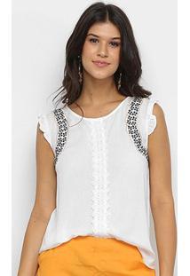 Blusa Heli Bordado Feminina - Feminino-Branco