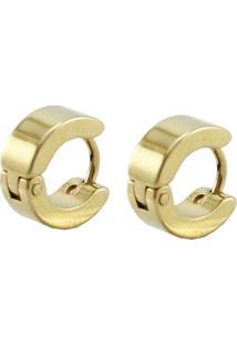 Brinco Tudo Joias Argola Aço Inox Dourado - Masculino-Dourado
