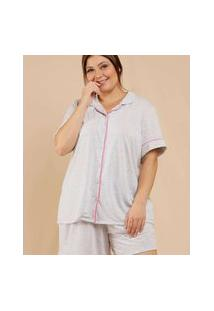 Pijama Plus Size Feminino Manga Curta Marisa