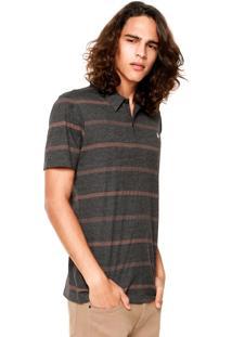 Camisa Polo Volcom Wonzer Stripe Preta/Marrom