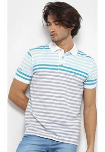Camisa Polo Aleatory Listrada Fio Tinto Masculina - Masculino-Branco+Azul
