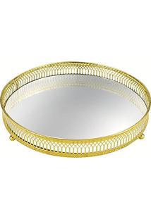 Bandeja Em Metal Com Espelho, Moas, Dourada, 4.5 X 17 X 17 Cm