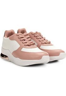 Tênis Sneaker Vizzano Texturizado Feminino - Feminino-Branco+Rosa