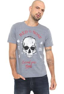 Camiseta Red Nose Estampada Caveira Cinza