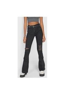 Calça Jeans Forever 21 Flare Destroyed Preta