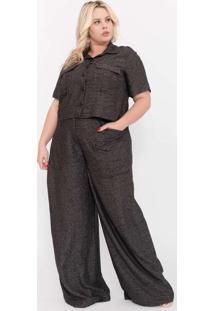 Camisa Almaria Plus Size Pianeta Cropped Tweed Uti