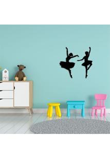 Escultura De Parede Em Mdf Duas Bailarinas Preto - Médio