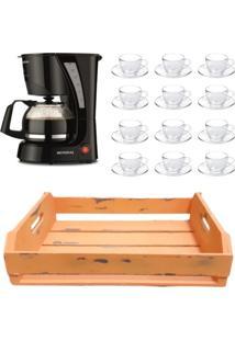 Kit 1 Cafeteira Mondial 110V, 12 Xícaras 240Ml Com Pires E 1 Bandeja Mdf Laranja - Tricae