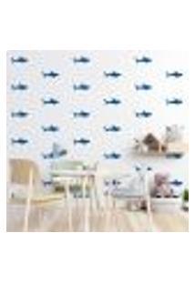 Adesivo Decorativo De Parede - Kit Com 55 Tubarão - 026Kaa04