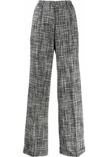 Off-White Calça Pantalona De Tweed - Azul