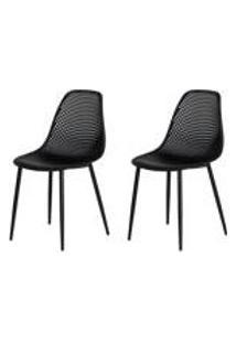 Kit 2 Cadeiras Ana Base Metal Galvanizado Preta Sala Cozinha Jantar
